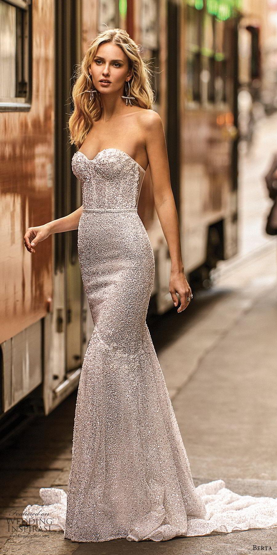 berta spring 2020 bridal strapless sweetheart fully embellished mermaid sheath wedding dress (16) glitzy elegant sheer back chapel train mv
