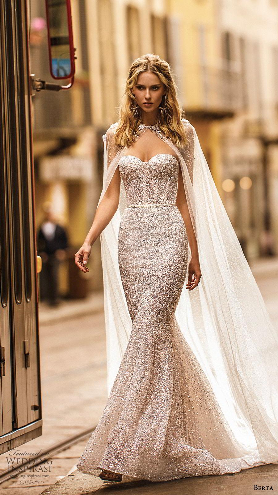 berta spring 2020 bridal strapless sweetheart fully embellished mermaid sheath wedding dress (16) glitzy elegant sheer back chapel train sheer cape bv