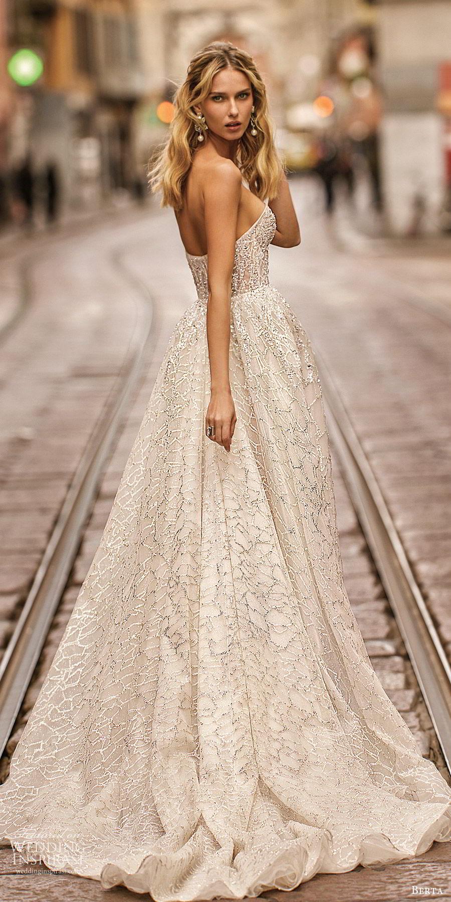 berta spring 2020 bridal strapless sweetheart fully embellished sheath wedding dress beaded ball gown overskirt (17) glitzy glam modern chapel train bv
