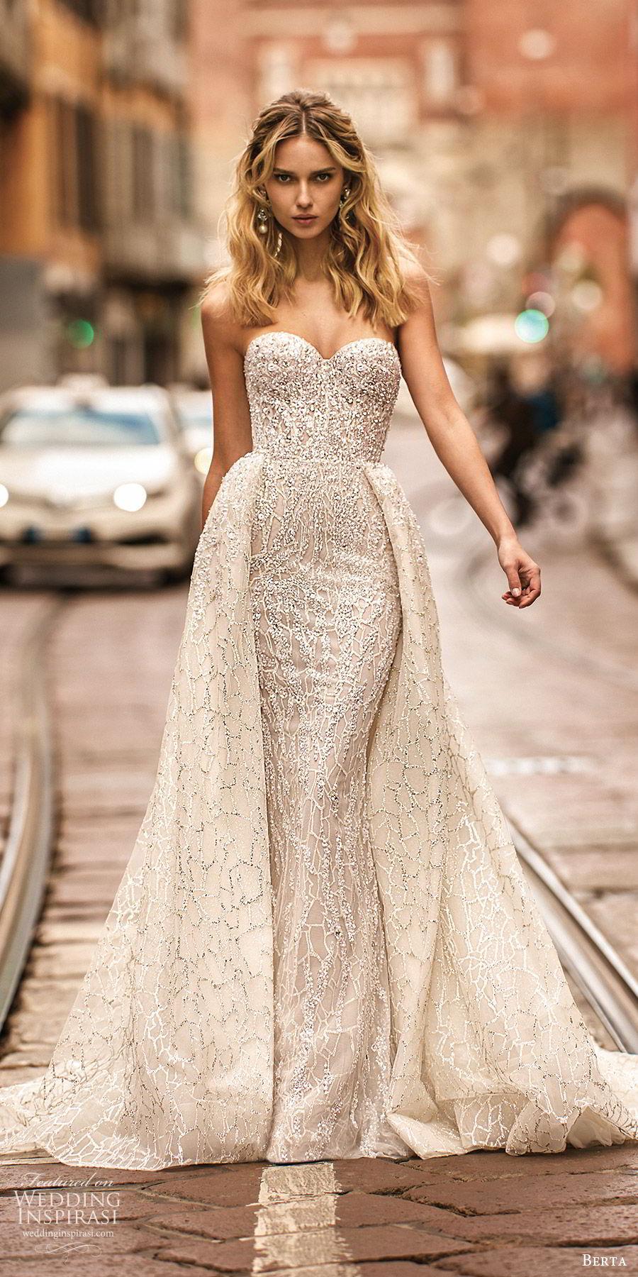 berta spring 2020 bridal strapless sweetheart fully embellished sheath wedding dress beaded ball gown overskirt (17) glitzy glam modern chapel train mv