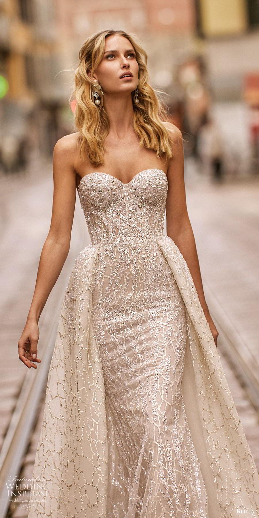 berta spring 2020 bridal strapless sweetheart fully embellished sheath wedding dress beaded ball gown overskirt (17) glitzy glam modern chapel train zv