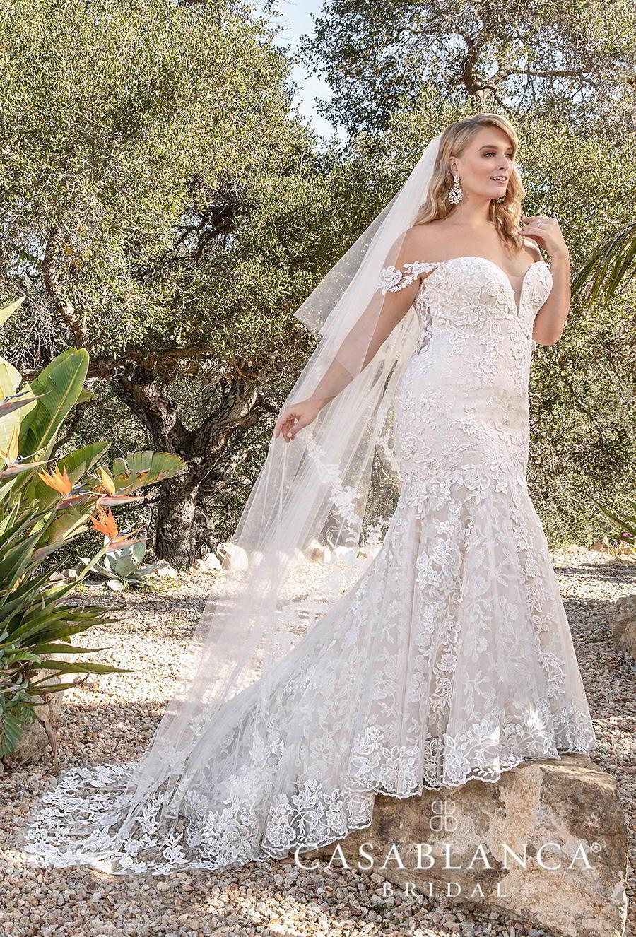 casablanca fall 2019 bridal off the shoulder sweetheart neckline full embellishment elegant romantic mermaid wedding dress chapel train (2376) mv