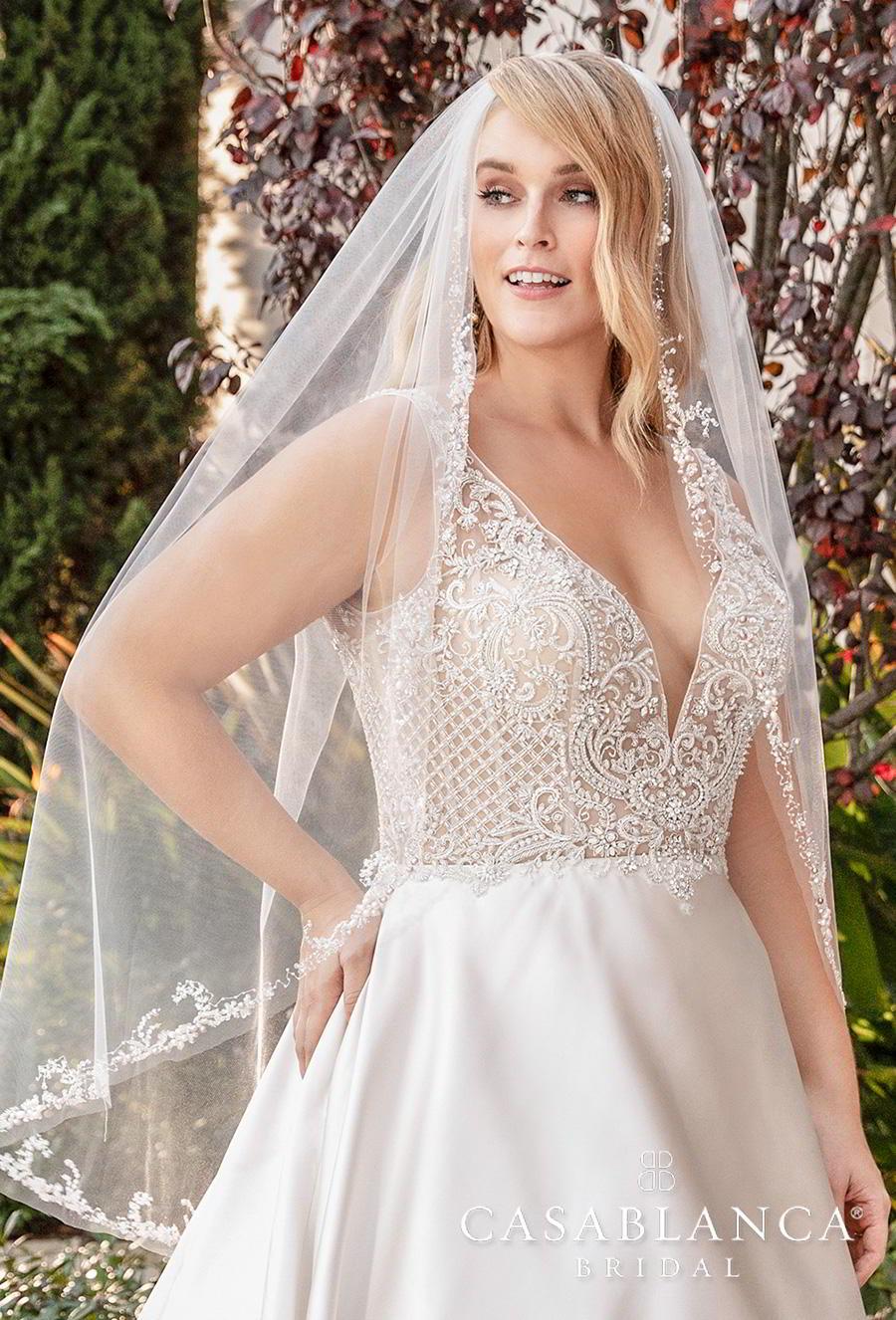 casablanca fall 2019 bridal sleeveless deep v neck heavily embellished bodice satin skirt romantic a  line wedding dress backless v back chapel train (2387) zv