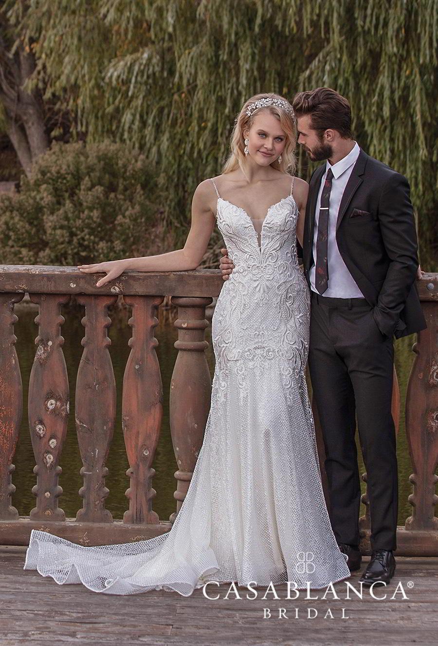 casablanca fall 2019 bridal sleeveless spaghetti strap deep sweetheart neckline heavily embellished bodice glamorous elegant sheath wedding dress (2380) mv