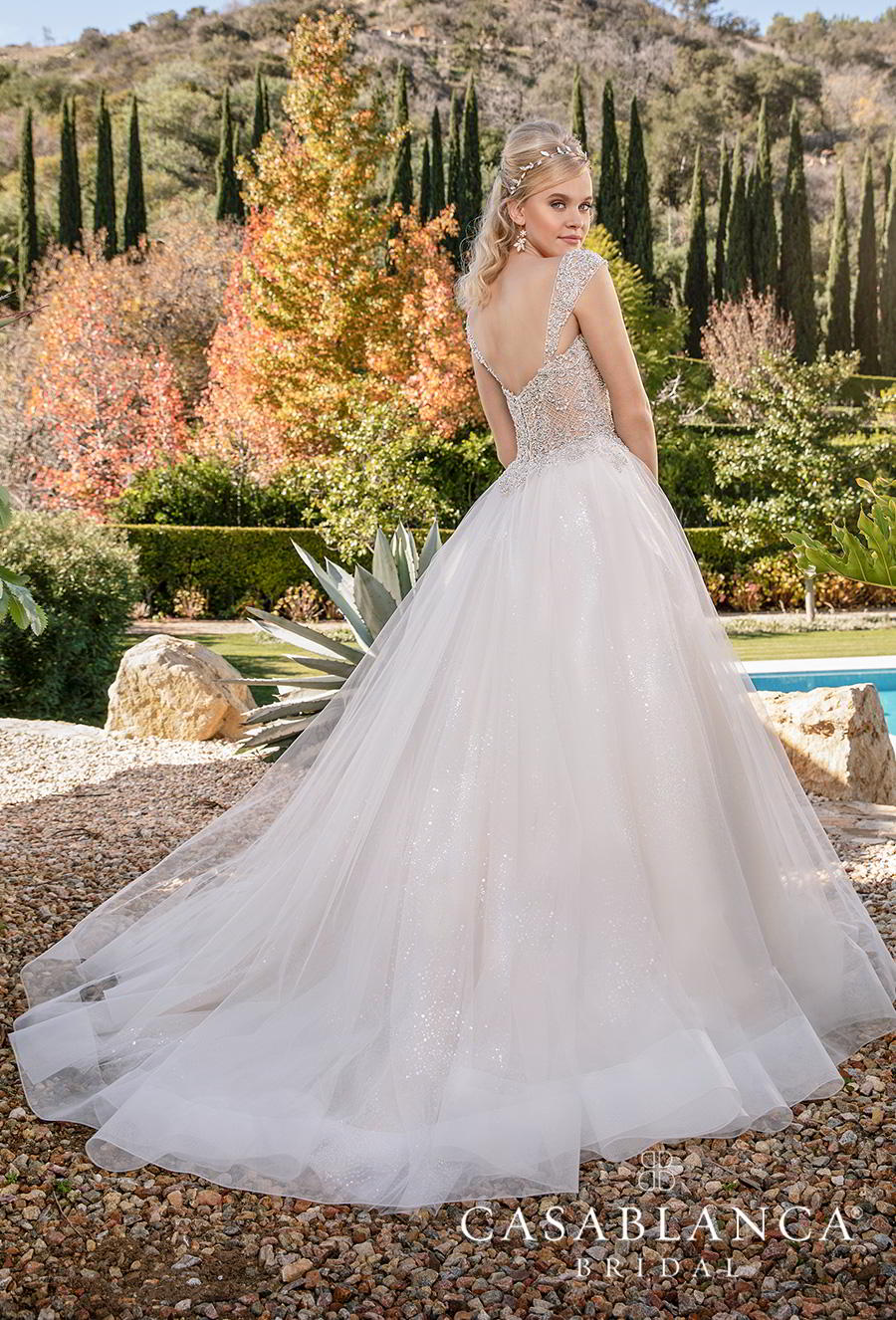 casablanca fall 2019 bridal sleeveless tapered strap sweetheart neckline heavily embellished bodice tulle skirt princess ball gown a  line wedding dress mid back chapel train (2374) bv