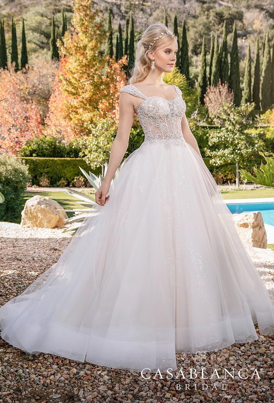 casablanca fall 2019 bridal sleeveless tapered strap sweetheart neckline heavily embellished bodice tulle skirt princess ball gown a  line wedding dress mid back chapel train (2374) mv