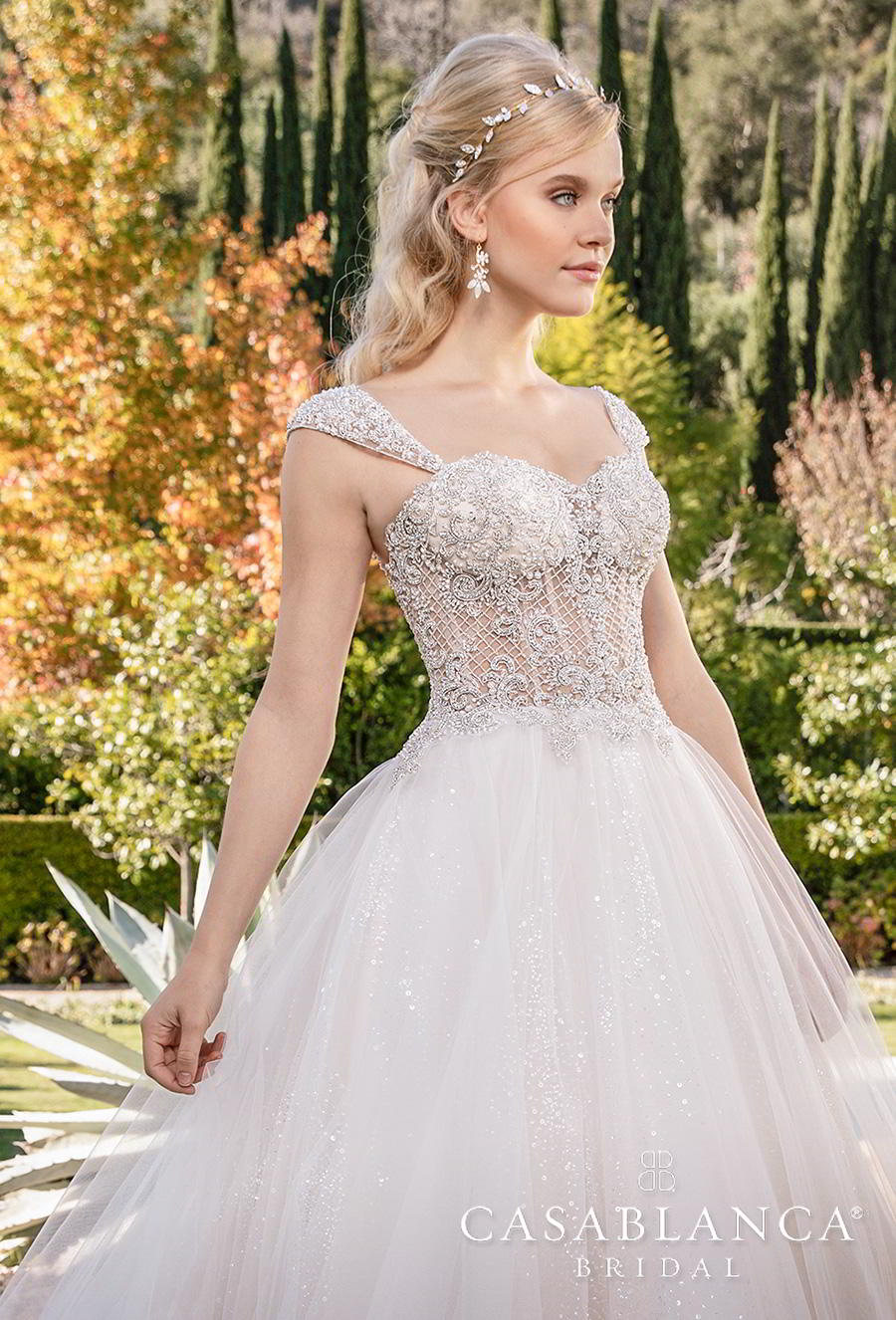casablanca fall 2019 bridal sleeveless tapered strap sweetheart neckline heavily embellished bodice tulle skirt princess ball gown a  line wedding dress mid back chapel train (2374) zv
