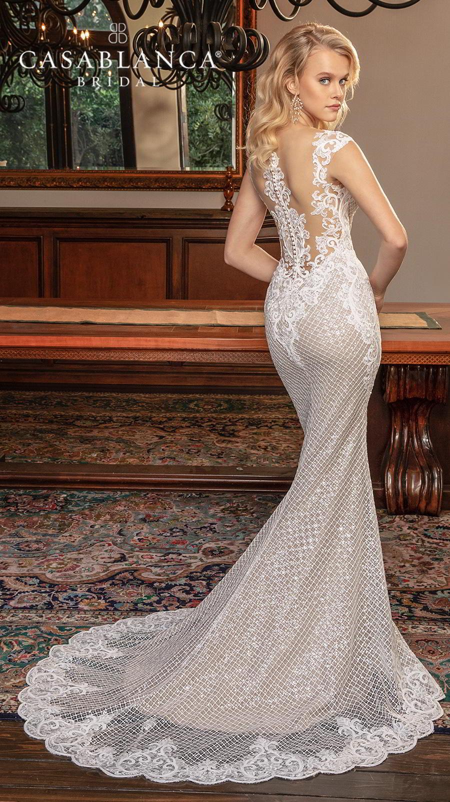 casablanca fall 2019 bridal sleeveless thick strap deep sweetheart neckline full embellishment elegant fit and flare sheath wedding dress sheer lace back chapel train (2377) bv