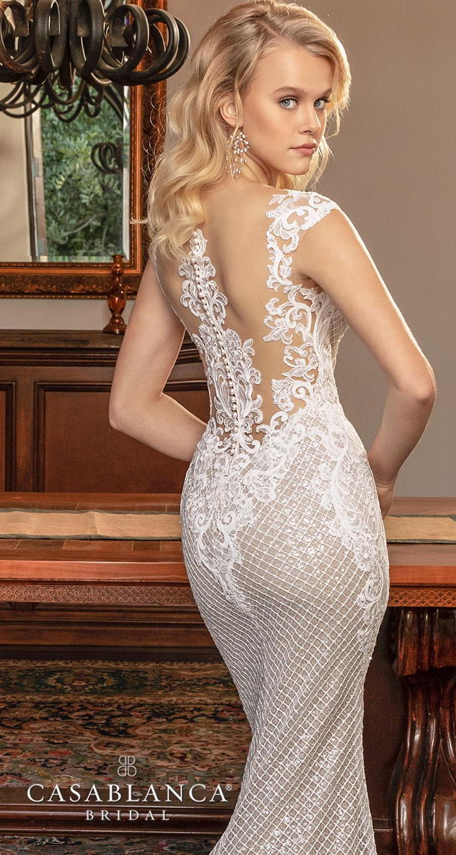 casablanca fall 2019 bridal sleeveless thick strap deep sweetheart neckline full embellishment elegant fit and flare sheath wedding dress sheer lace back chapel train (2377) zbv