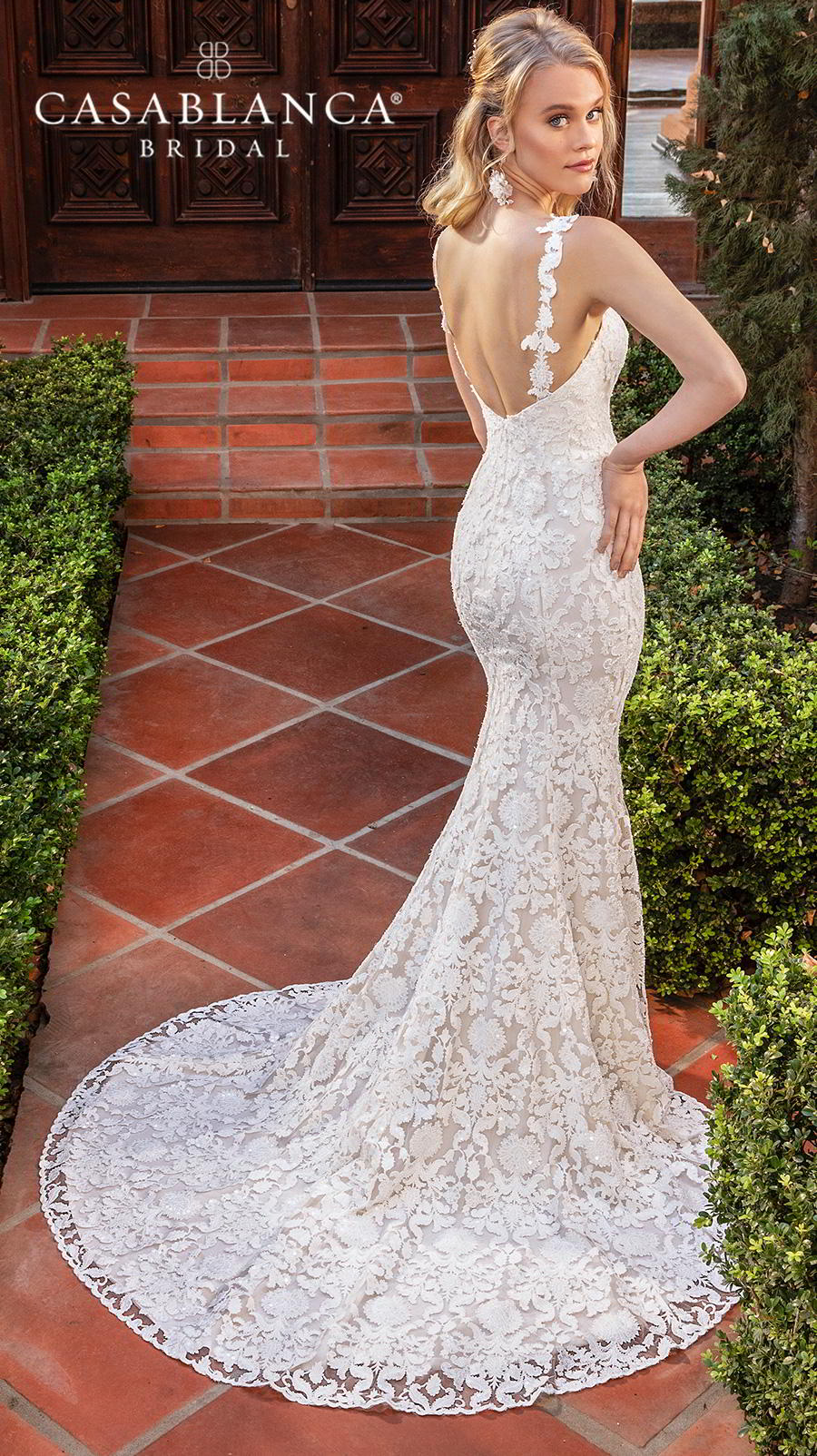 casablanca fall 2019 bridal sleeveless with strap sweetheart neckline full embellishment slit skirt elegant fit and flare wedding dress backless medium train (2388) bv
