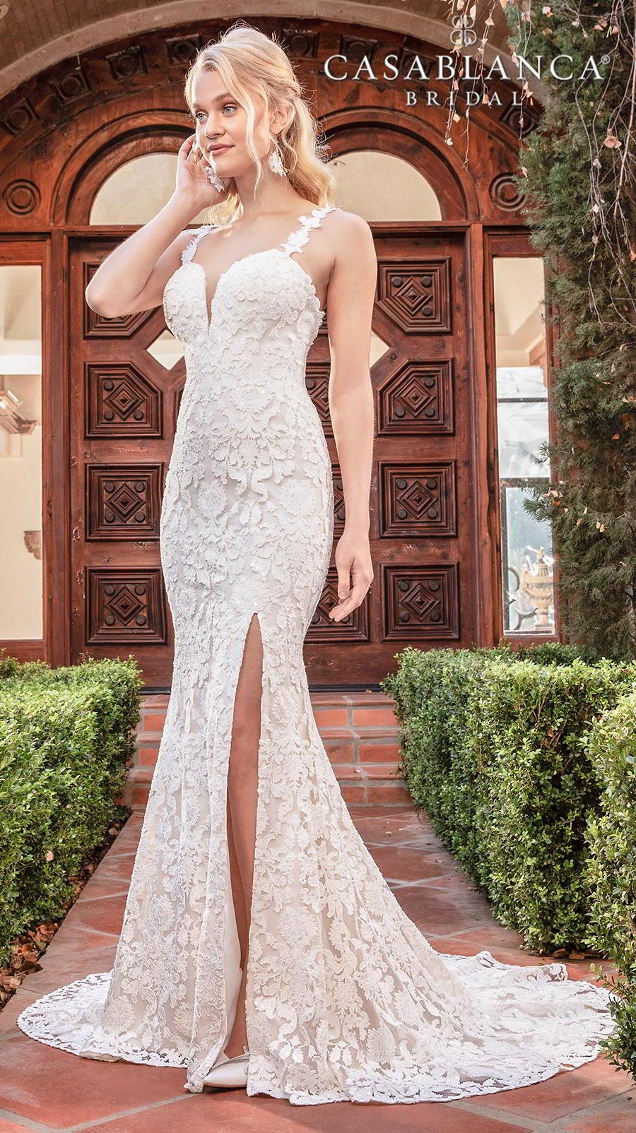 casablanca fall 2019 bridal sleeveless with strap sweetheart neckline full embellishment slit skirt elegant fit and flare wedding dress backless medium train (2388) mv