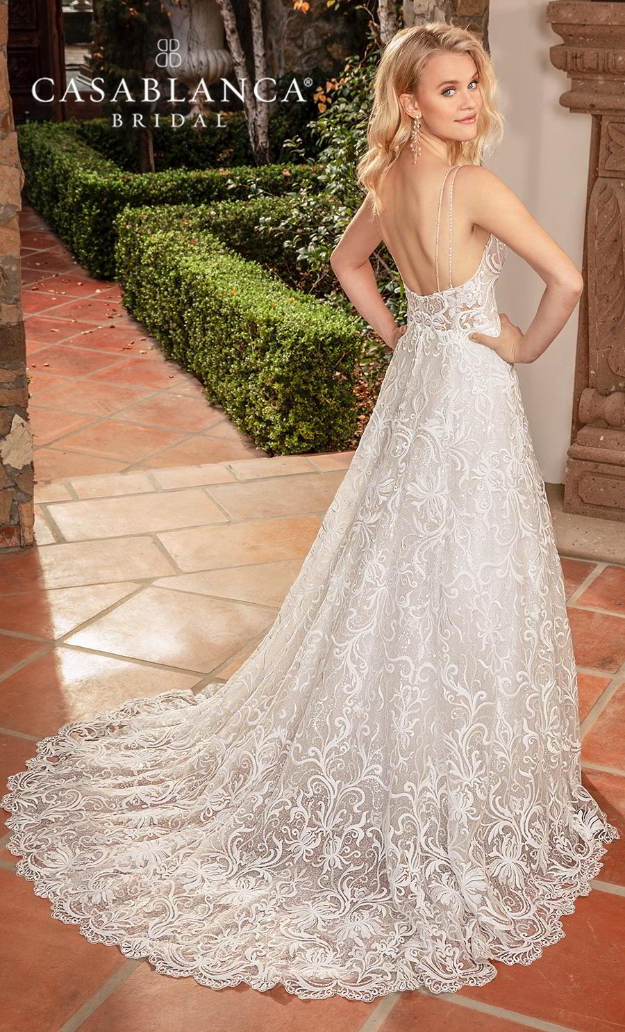 casablanca fall 2019 bridal sleeveless with strap v neck full embellishment elegant modified a  line wedding dress backless medium train (2378) bv