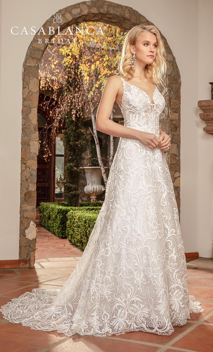 casablanca fall 2019 bridal sleeveless with strap v neck full embellishment elegant modified a  line wedding dress backless medium train (2378) mv