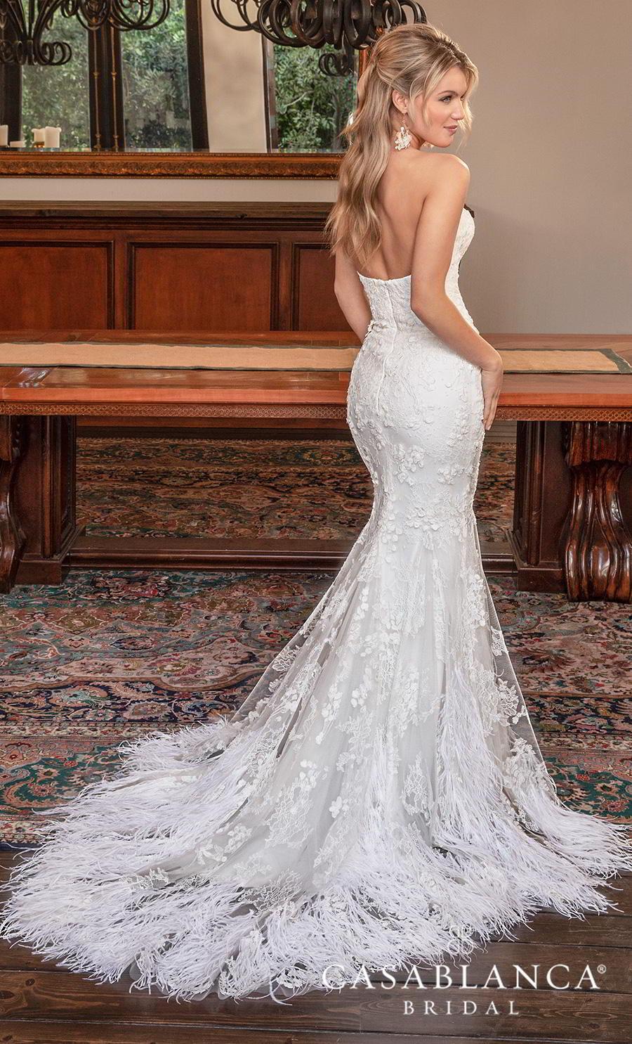 casablanca fall 2019 bridal strapless sweetheart neckline full embellishment elegant fit and flare wedding dress mid back chapel train (2385) bv
