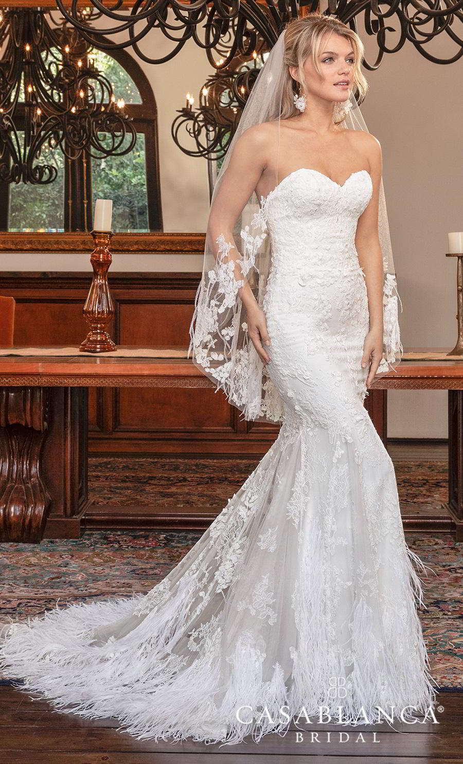 casablanca fall 2019 bridal strapless sweetheart neckline full embellishment elegant fit and flare wedding dress mid back chapel train (2385) mv