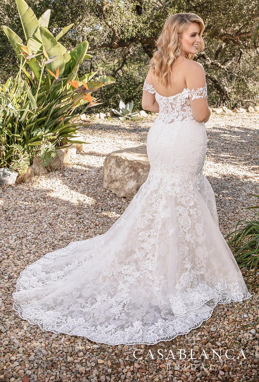 casablanca fall 2019 bridal strapless sweetheart neckline full embellishment elegant romantic fit and flare mermaid wedding dress mid back chapel train (2376) bv