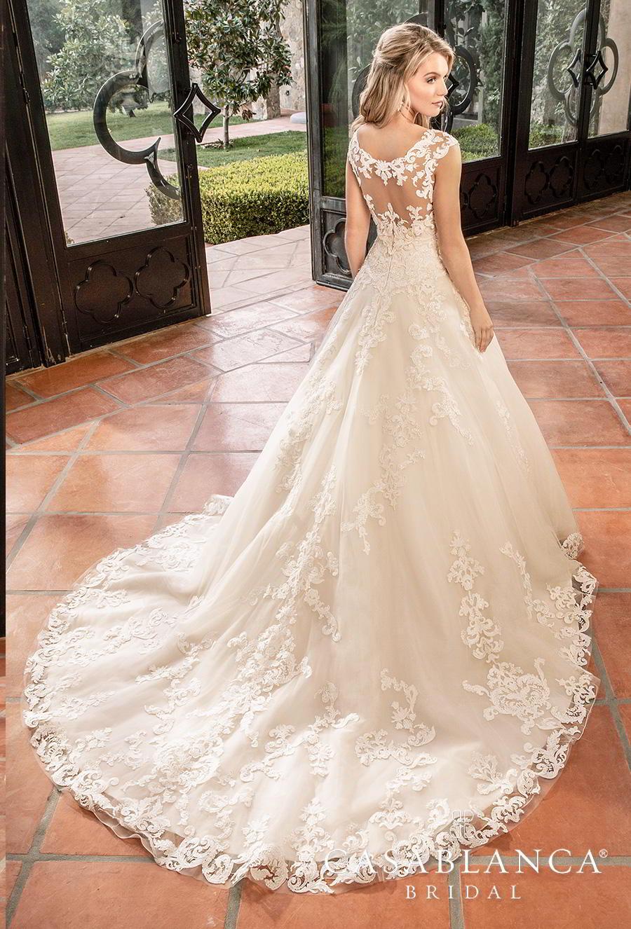 casablanca fall 2019 bridal strapless sweetheart neckline heavily embellished bodice hem romantic classic a  line wedding dress sheer lace back chapel train (2383) bv