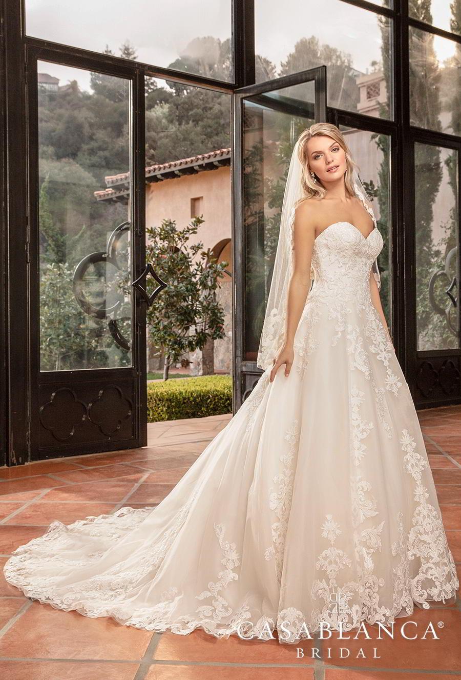 casablanca fall 2019 bridal strapless sweetheart neckline heavily embellished bodice hem romantic classic a  line wedding dress sheer lace back chapel train (2383) mv