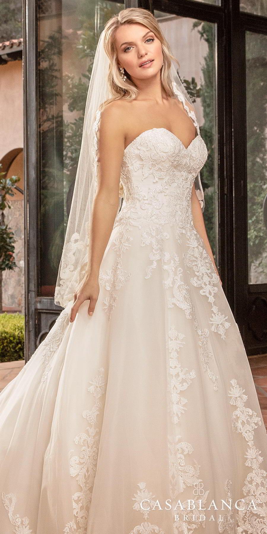 casablanca fall 2019 bridal strapless sweetheart neckline heavily embellished bodice hem romantic classic a  line wedding dress sheer lace back chapel train (2383) zv