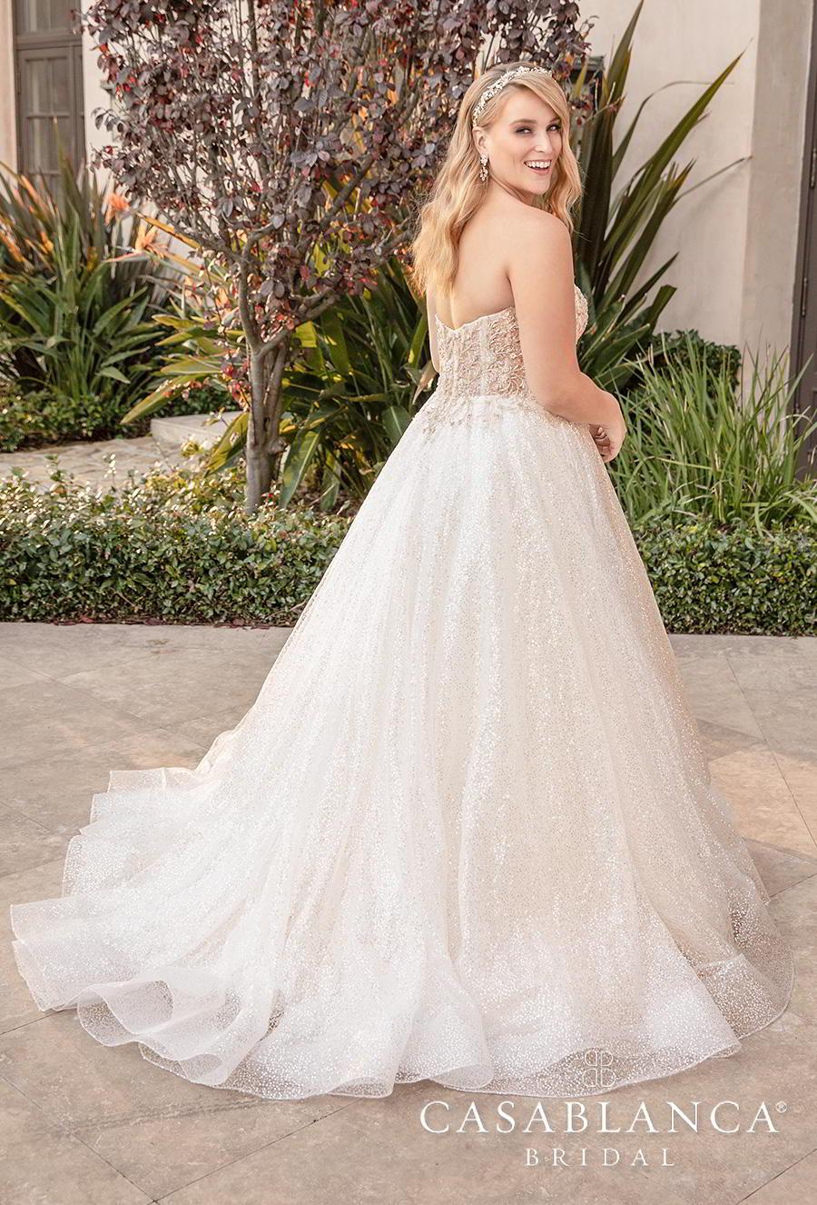 casablanca fall 2019 bridal strapless sweetheart neckline heavily embellished bodice plus size romantic a  line wedding dress mid back short train (2394) bv