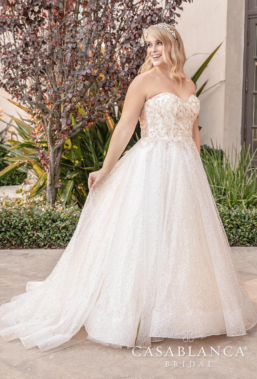 casablanca fall 2019 bridal strapless sweetheart neckline heavily embellished bodice plus size romantic a  line wedding dress mid back short train (2394) mv