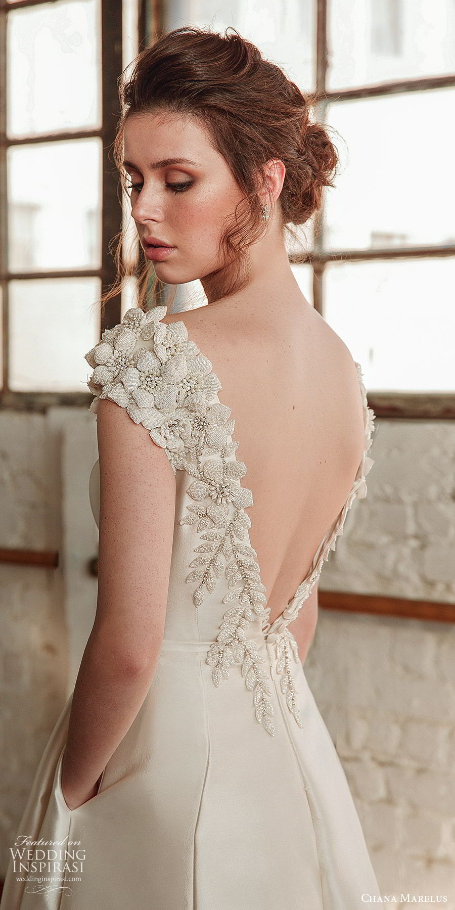 chana marelus fall 2019 bridal embellished cap sleeves bateau neck a line wedding (14) v back mv