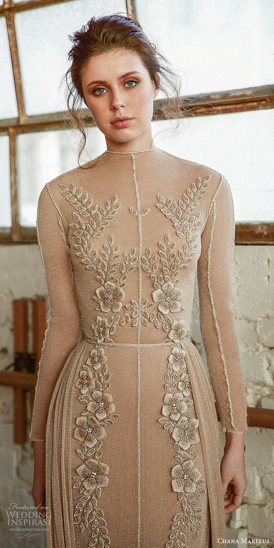 chana marelus fall 2019 bridal illusion long sleeves high neck sheer bodice fully embellished sheath a line wedding dress (10) beige color modern elegant zv