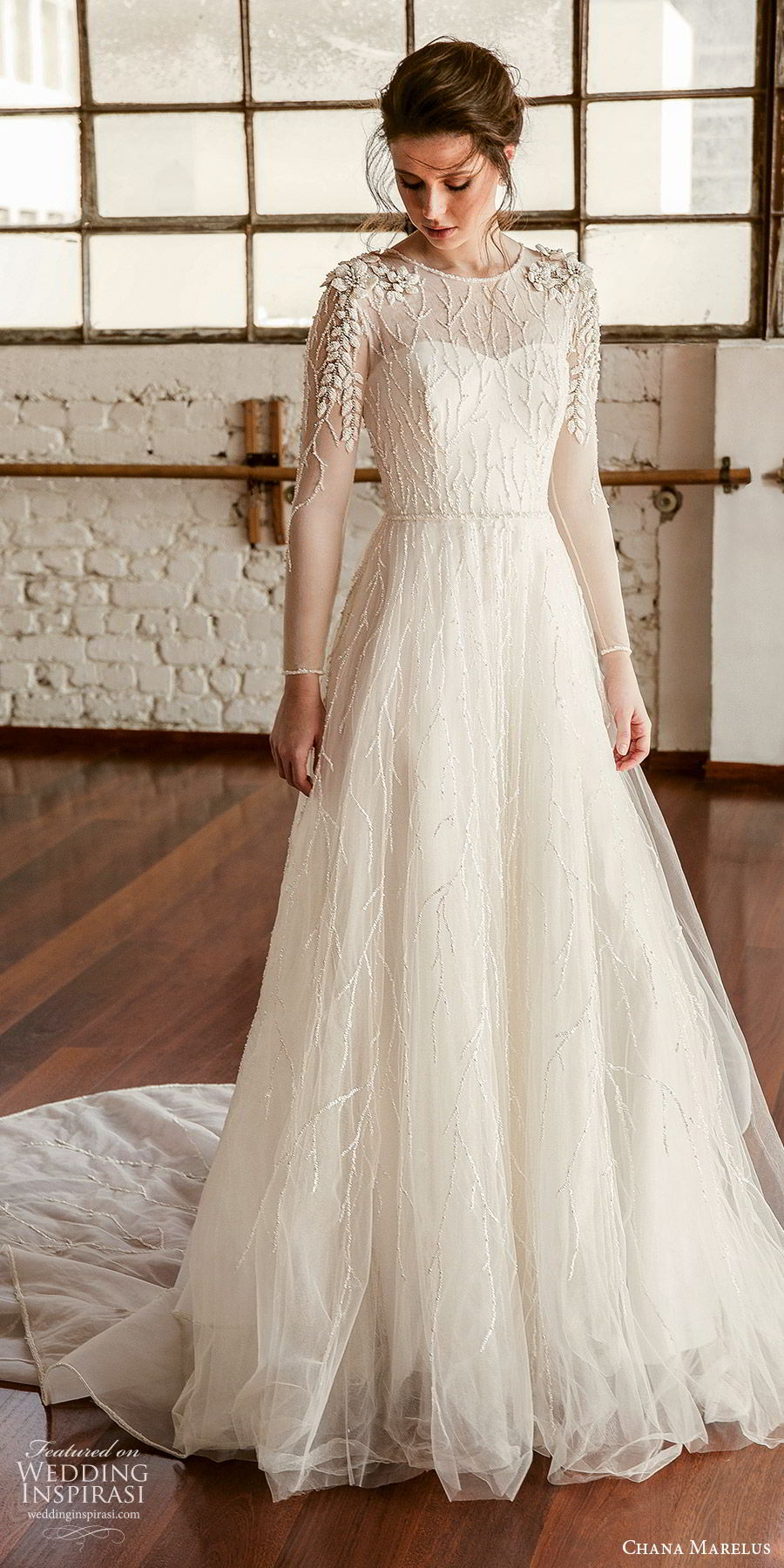chana marelus fall 2019 bridal illusion long sleeves sheer jewel neck semi sweetheart neckline fully embellished a line ball gown wedding dress (2) elegant romantic chapel train mv
