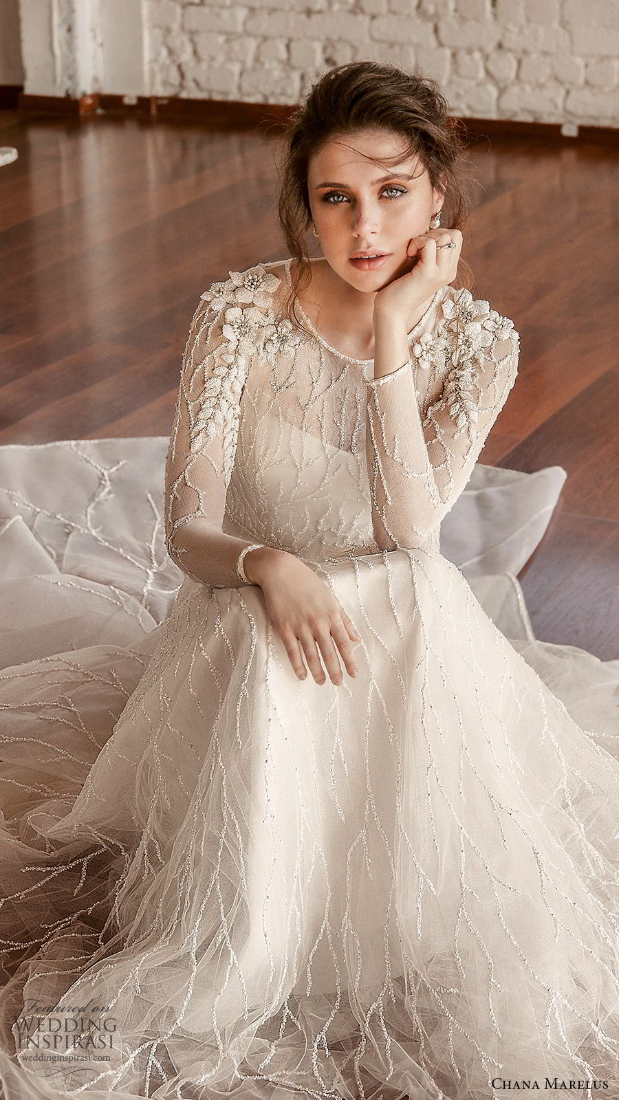 chana marelus fall 2019 bridal illusion long sleeves sheer jewel neck semi sweetheart neckline fully embellished a line ball gown wedding dress (2) elegant romantic chapel train zv