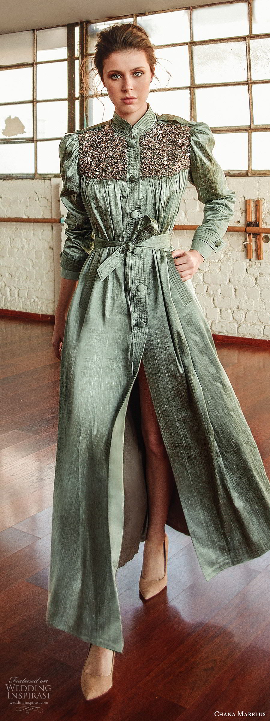 chana marelus fall 2019 bridal long puff sleeves collar neckline embellished bodice full length shirt dress (12) slit green color modern unique mv