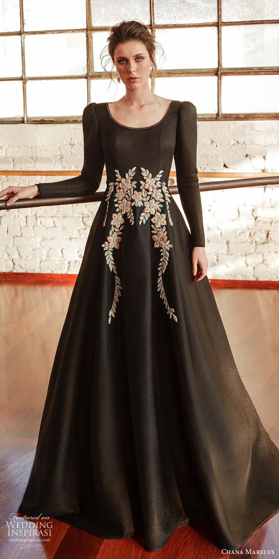 chana marelus fall 2019 bridal long puff sleeves scoop neckline embellished waist a line dress (13) modern romantic black color mv