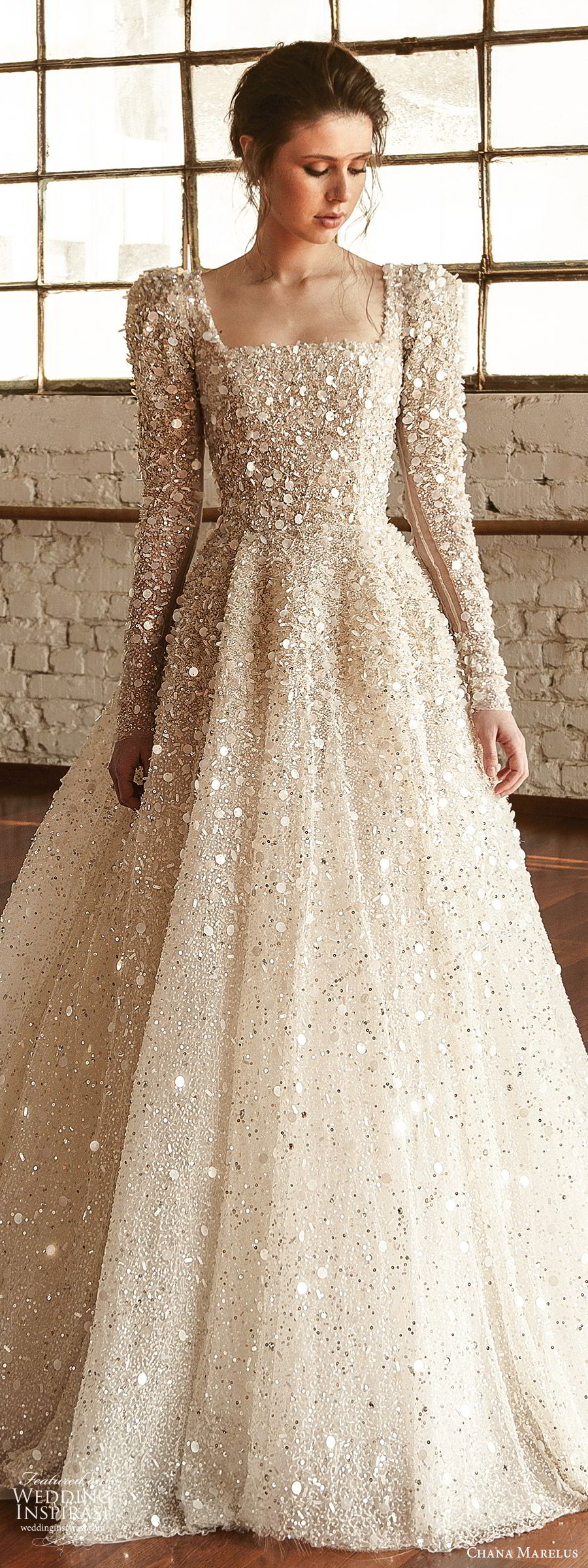 chana marelus fall 2019 bridal long puff sleeves square straigh across neckline fully embellished a line ball gown wedding dress (1) glitzy princess romantic cathedral train lv