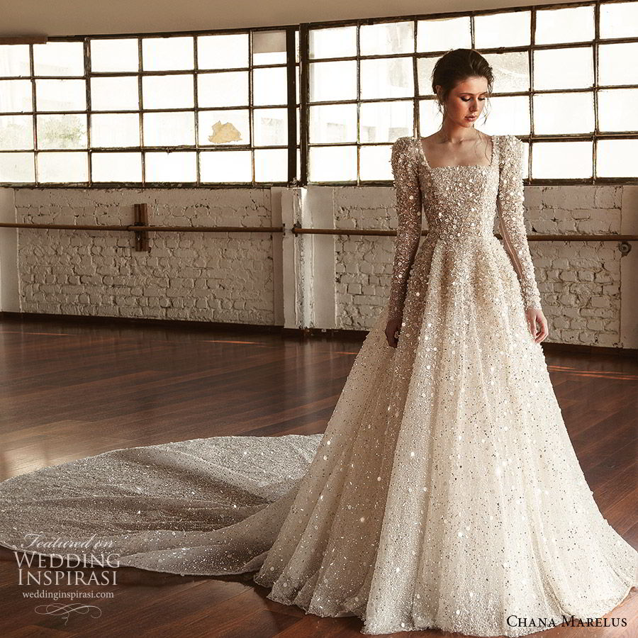 chana marelus fall 2019 bridal long puff sleeves square straigh across neckline fully embellished a line ball gown wedding dress (1) glitzy princess romantic cathedral train mv