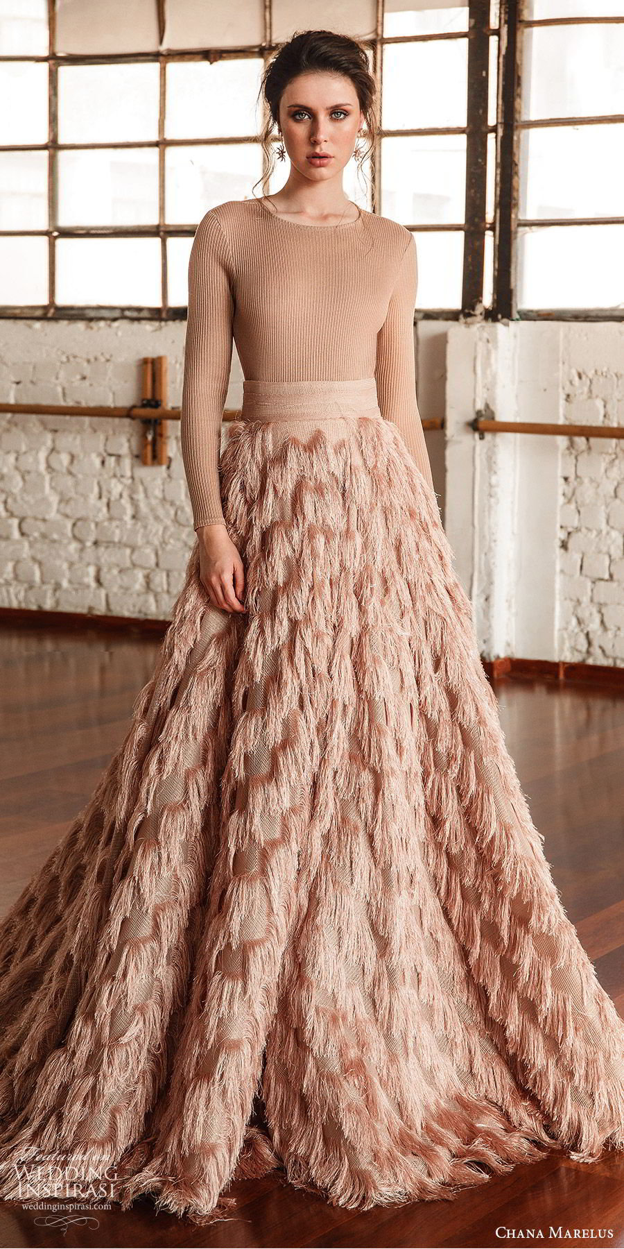 chana marelus fall 2019 bridal long sleeves jewel neck feather skirt a line ball gown wedding dress (8) modern chic blush color sweep train  mv