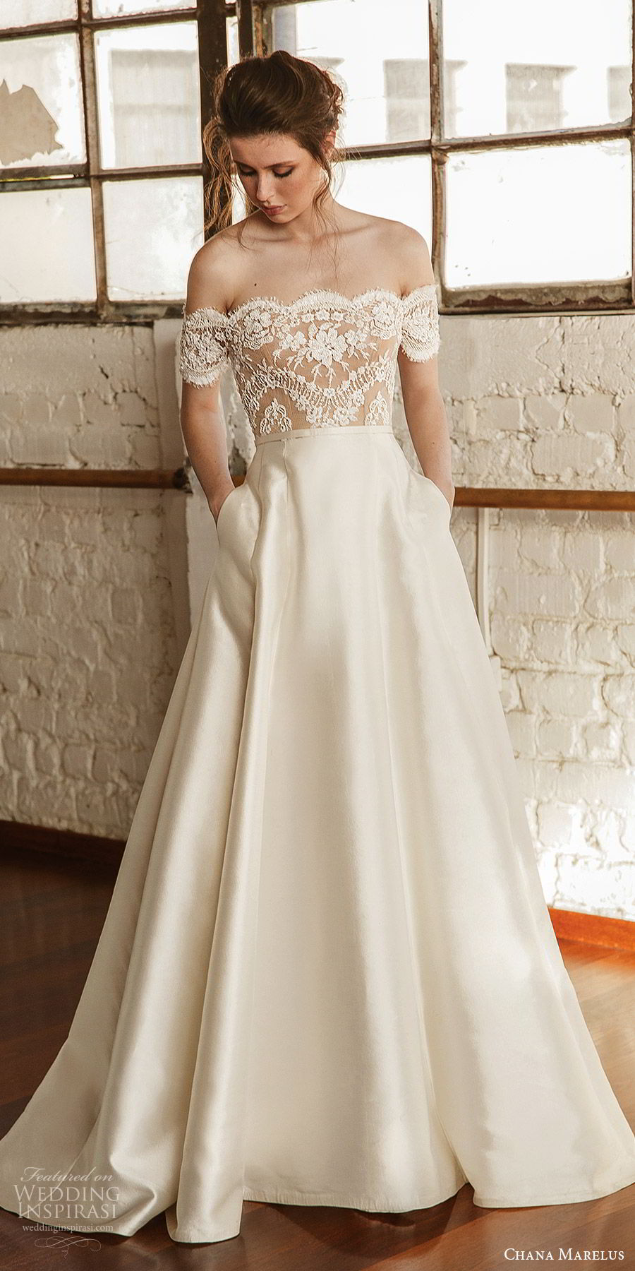 chana marelus fall 2019 bridal off shoulder short sleeves straight across scallop lace bodice a line ball gown wedding dress (9) pockets sweep train romantic elegant mv