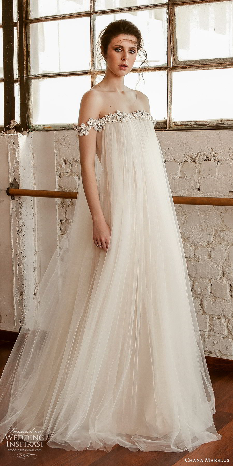 chana marelus fall 2019 bridal off shoulder straight across embellished neckline tent a line wedding dress (4) vintage boho chic sweep train mv