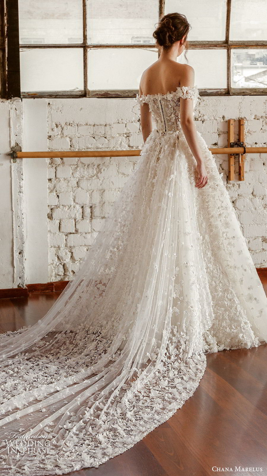 chana marelus fall 2019 bridal off shoulder straight across neckline fully embellished a line ball gown wedding dress (3) romantic princess cathedral train bv