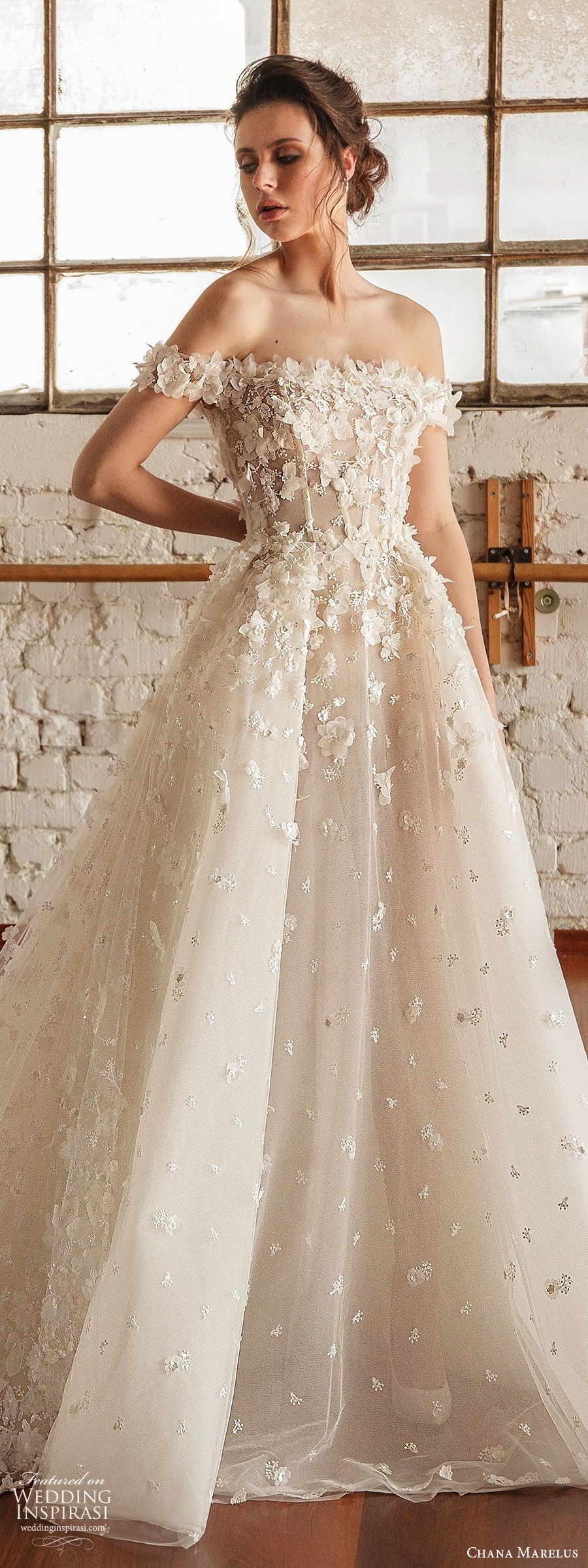 chana marelus fall 2019 bridal off shoulder straight across neckline fully embellished a line ball gown wedding dress (3) romantic princess cathedral train lv