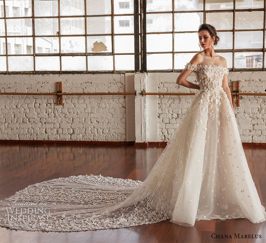 chana marelus fall 2019 bridal off shoulder straight across neckline fully embellished a line ball gown wedding dress (3) romantic princess cathedral train mv