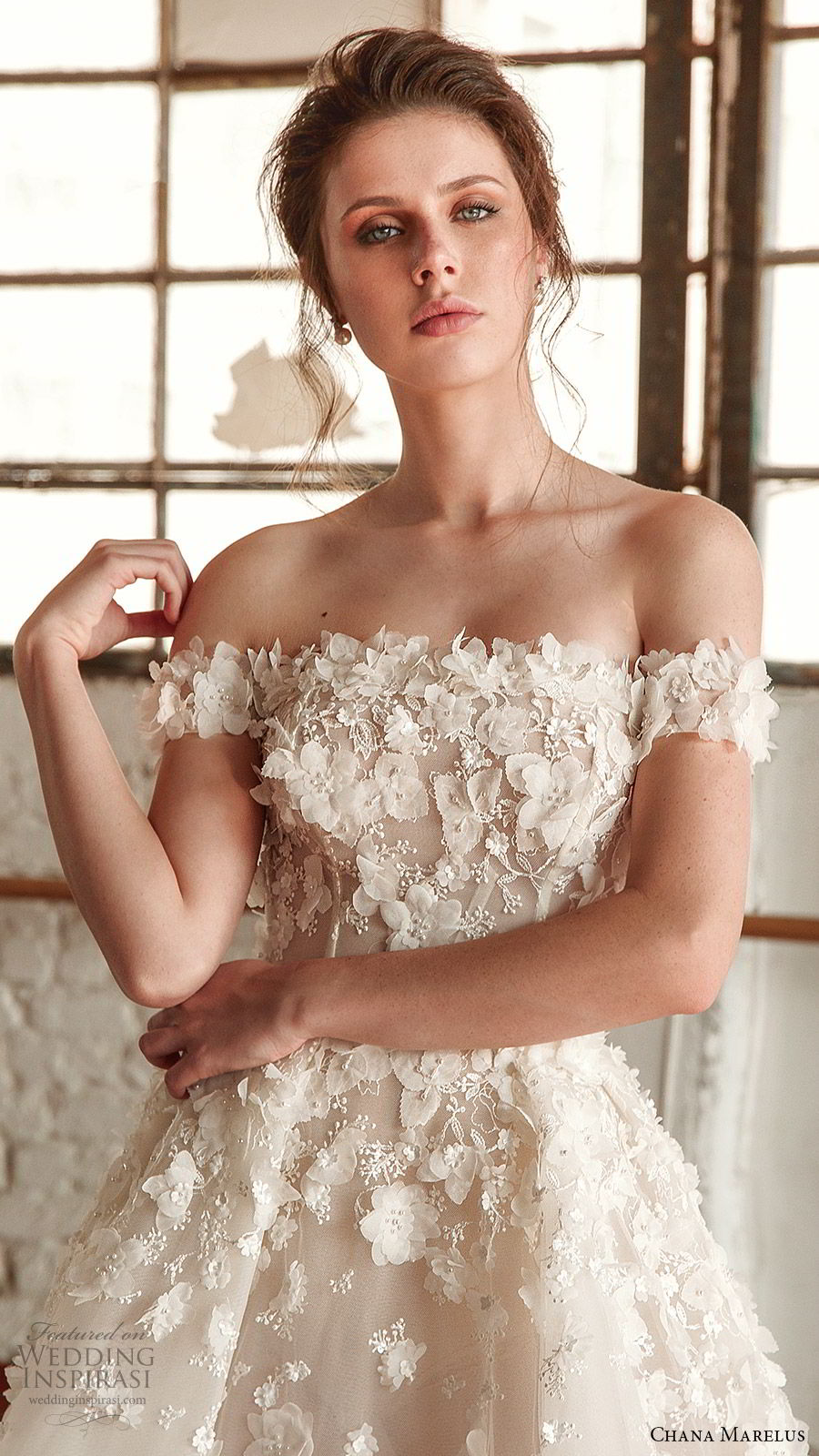 chana marelus fall 2019 bridal off shoulder straight across neckline fully embellished a line ball gown wedding dress (3) romantic princess cathedral train zv