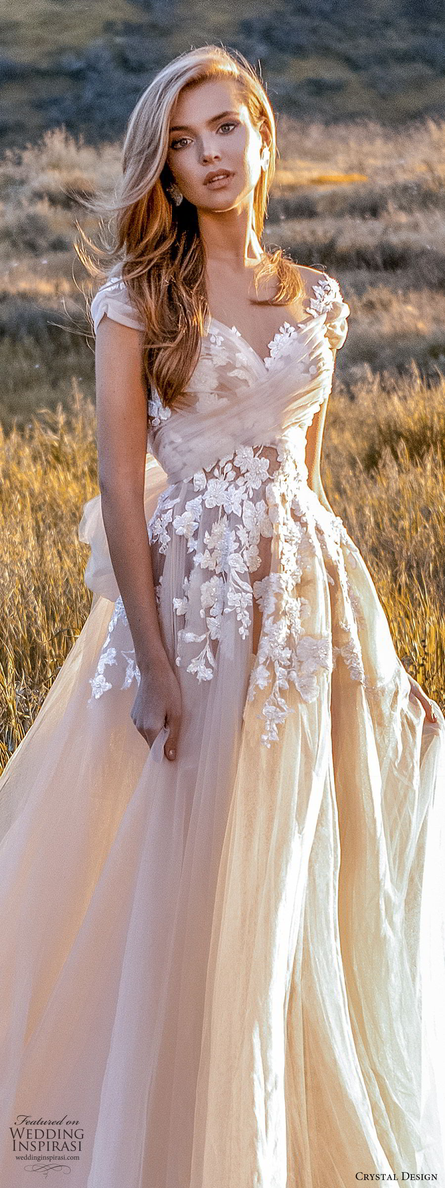 crystal design 2020 couture bridal cap sleeves sweetheart neckline embellished bodice a line ball gown wedding dress (7) blush color romantic princess keyhole back chapel train lv