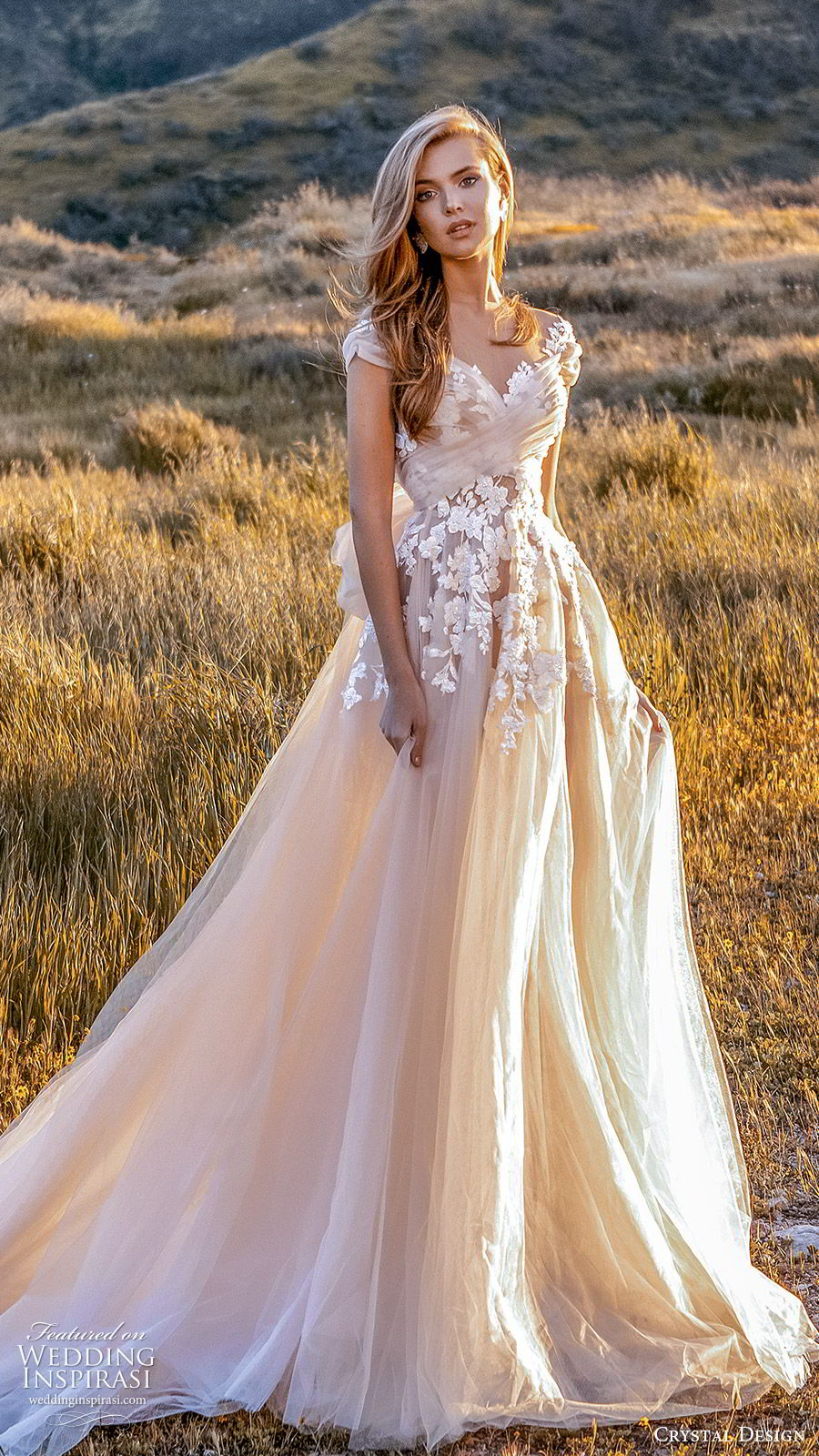 crystal design 2020 couture bridal cap sleeves sweetheart neckline embellished bodice a line ball gown wedding dress (7) blush color romantic princess keyhole back chapel train mv