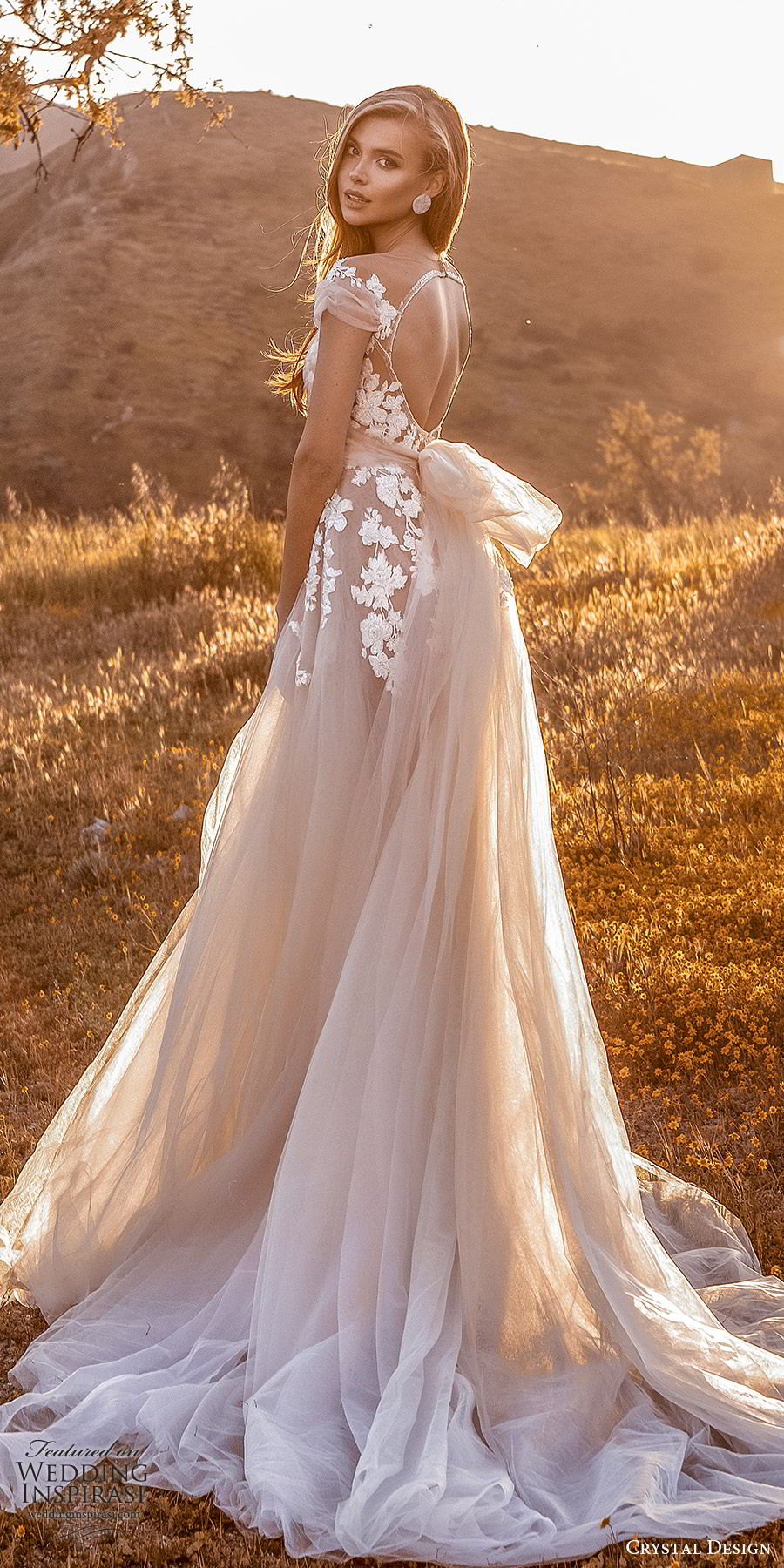 crystal design 2020 couture bridal cap sleeves sweetheart neckline embellished bodice a line ball gown wedding dress (7) blush color romantic princess keyhole back chapel train sv