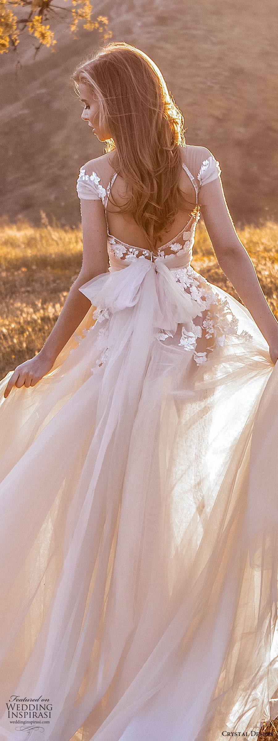 crystal design 2020 couture bridal cap sleeves sweetheart neckline embellished bodice a line ball gown wedding dress (7) blush color romantic princess keyhole back chapel train zbv
