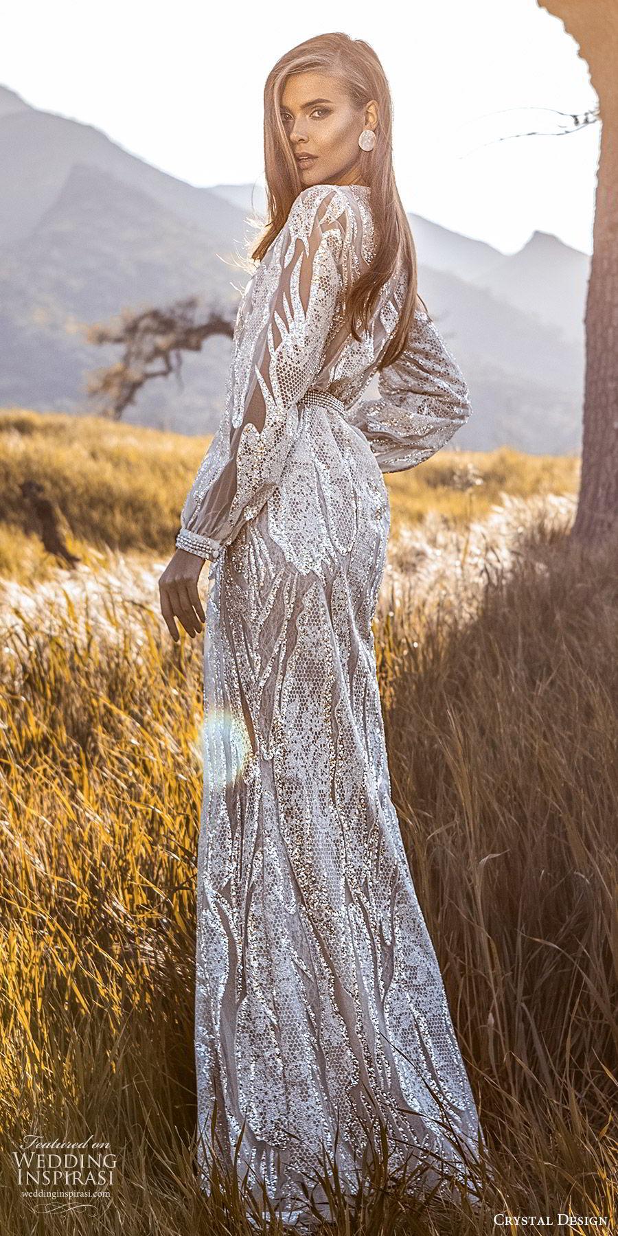 crystal design 2020 couture bridal long sleeves surplice v neckline fully embellished sheath wedding dress (3) glam elegant slit skirt sweep train beaded belt bv