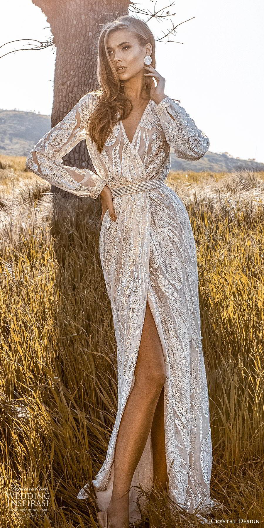 crystal design 2020 couture bridal long sleeves surplice v neckline fully embellished sheath wedding dress (3) glam elegant slit skirt sweep train beaded belt mv