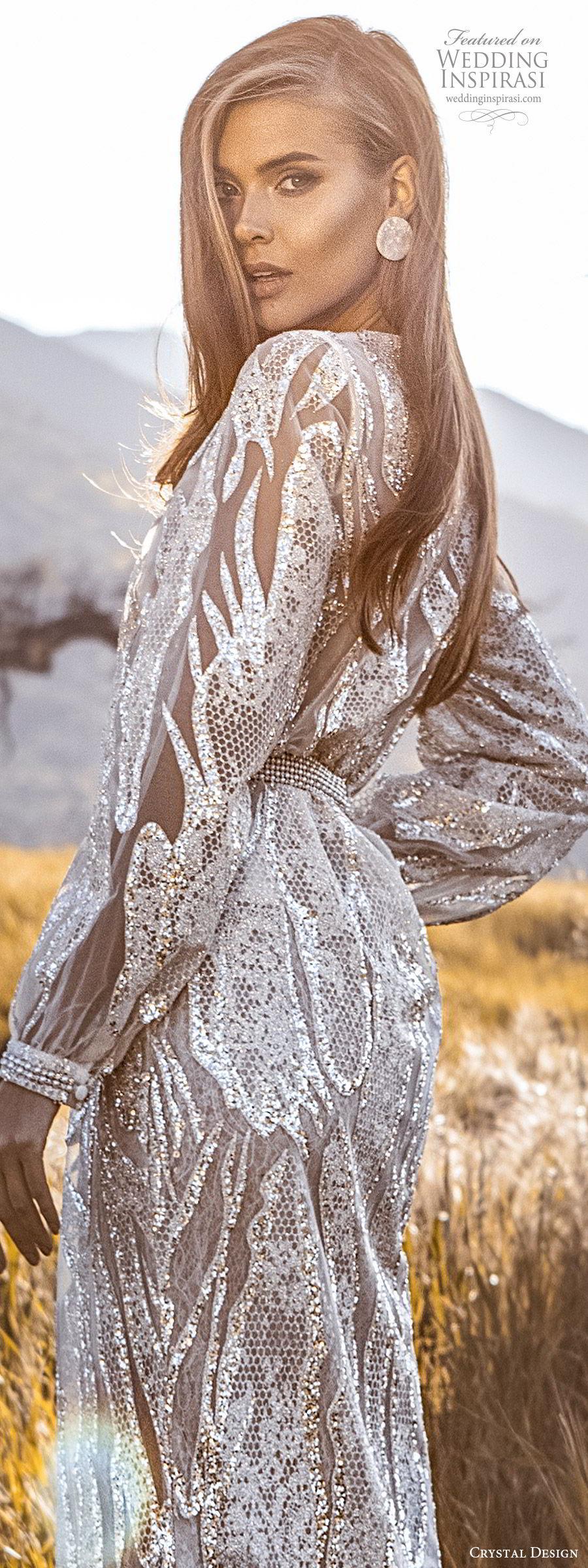 crystal design 2020 couture bridal long sleeves surplice v neckline fully embellished sheath wedding dress (3) glam elegant slit skirt sweep train beaded belt zbv