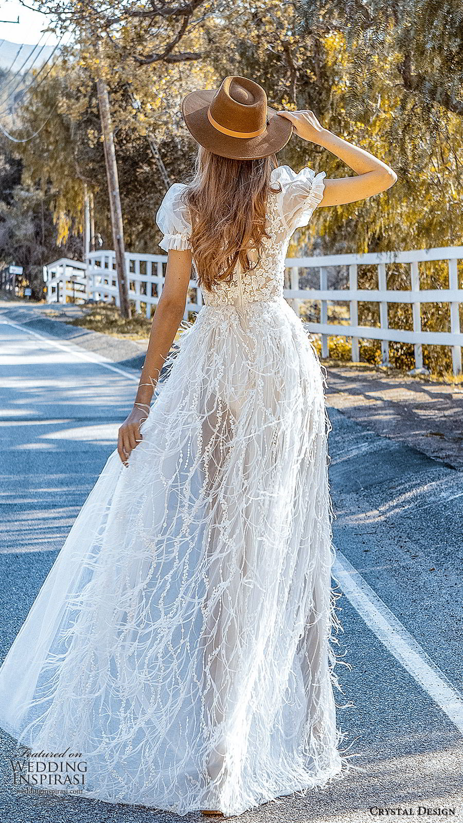 crystal design 2020 couture bridal short puff sleeves high neckline fully embellished lace bodice a line wedding dress feather sheer skirt (4) romantic boho chic bv