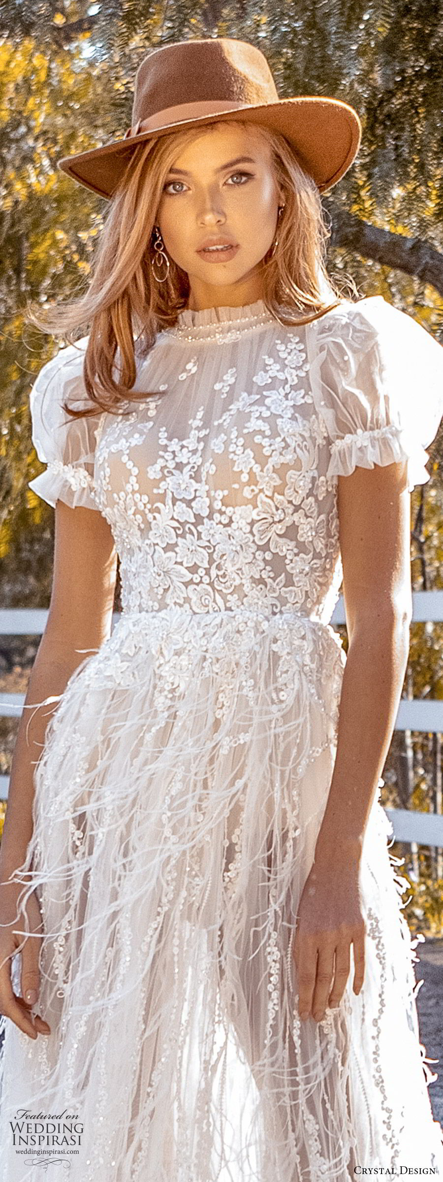 crystal design 2020 couture bridal short puff sleeves high neckline fully embellished lace bodice a line wedding dress feather sheer skirt (4) romantic boho chic lv