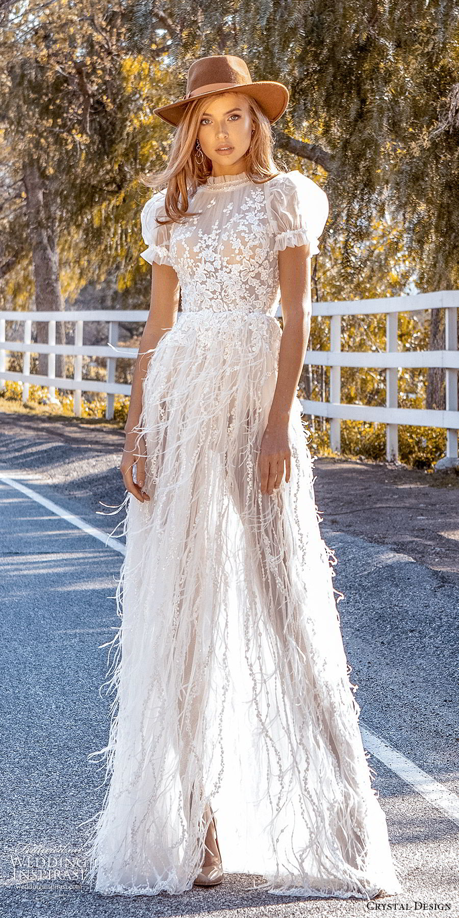crystal design 2020 couture bridal short puff sleeves high neckline fully embellished lace bodice a line wedding dress feather sheer skirt (4) romantic boho chic mv